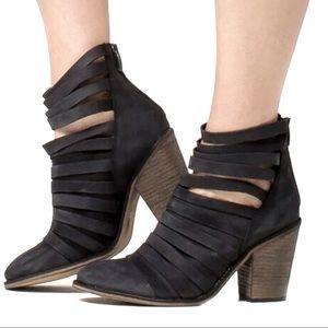 Free People Hybrid Black Leather Heeled Boot
